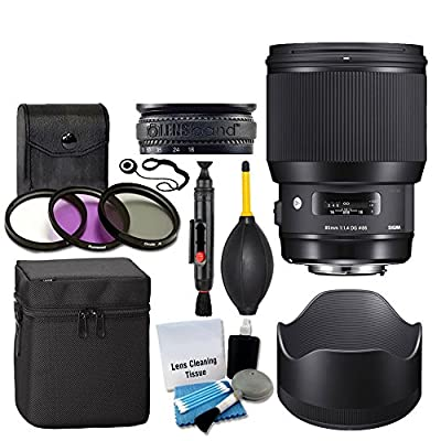 Sigma 85mm f/1.4 DG HSM Art Lens for Canon EF + 3 Piece UV Filter 86mm + Lens Case + Lens Hood + Lens Band + 5 Piece Cleaning Kit + Dust Blower + Cleaning Pen - Ultimate Lens Accessory Bundle by SIGMA
