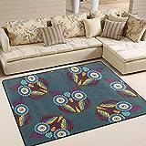 AHOMY Teppich 150 x 200 cm, Rutschfest, modernes Eulen-Teppich für Wohnzimmer/Baby/Haustierzimmer/Schlafzimmer/Esszimmer/Küche, Textil, Multi, 150x200 cm (5'x7' ft) - 5