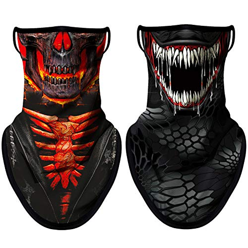 NTBOKW Gaiters Face Mask with Ear Loops Men Women Bandana Face Mask Neck Gaiter 2 Pack (Skull 0118)