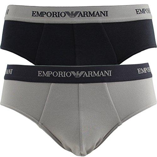 Emporio Armani 2 confezioni di slip sportivi CC717 111321 lettera Mini Slip, 1 x blu navy, 1 x grigio., m