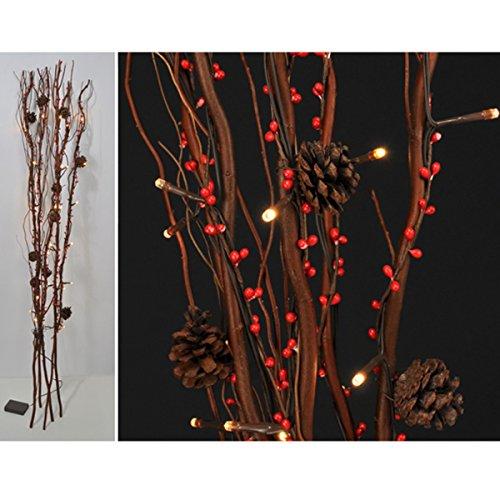 H-HI Lichterzweige mit Tannenzapfen und dekorativen roten Beeren, 30 LED, 120cm: LED Beleuchtete Deko Zweige Lichter Dekoration Weidenzweige 120 cm