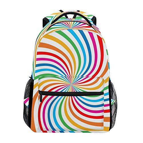 TIZORAX Colorful Rainbow Spiral Backpack School College Bag Bookbag Hiking Travel Rucksack for Women Men