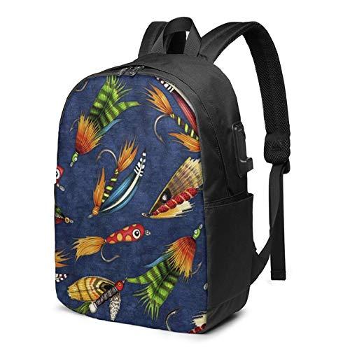 Laptop Rucksack Business Rucksack für 17 Zoll Laptop, Fliegenfischen Köder Schulrucksack Mit USB Port für Arbeit Wandern Reisen Camping, für Herren Damen