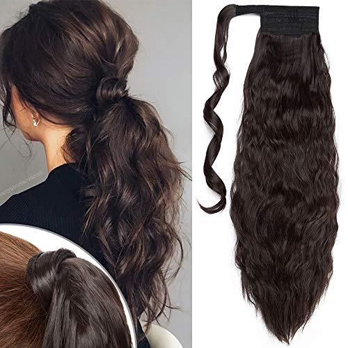 TESS Pferdeschwanz Extensions Dunkelbraun Ponytail Hair Corn Wave Zopf Haarteil Clip in Extensions wie Echthaar günstig mit Klettverschluss 20