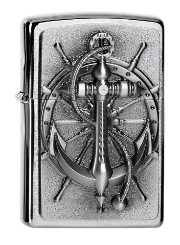 Zippo Zippo Feuerzeug 2004290 Nautic Benzinfeuerzeug, Messing, Edelstahloptik, 1 x 3,5 x 5,5 cm Edelstahloptik
