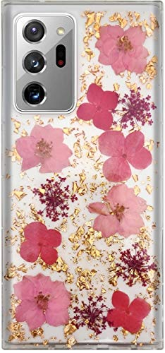 Aokebr Real Flowers Case for Samsung Galaxy Note 20 Ultra Pressed Dry Petals Glitter Bling Glitter Sparkle Thin TPU Soft for Girl Women Note20Ultra (Pink)