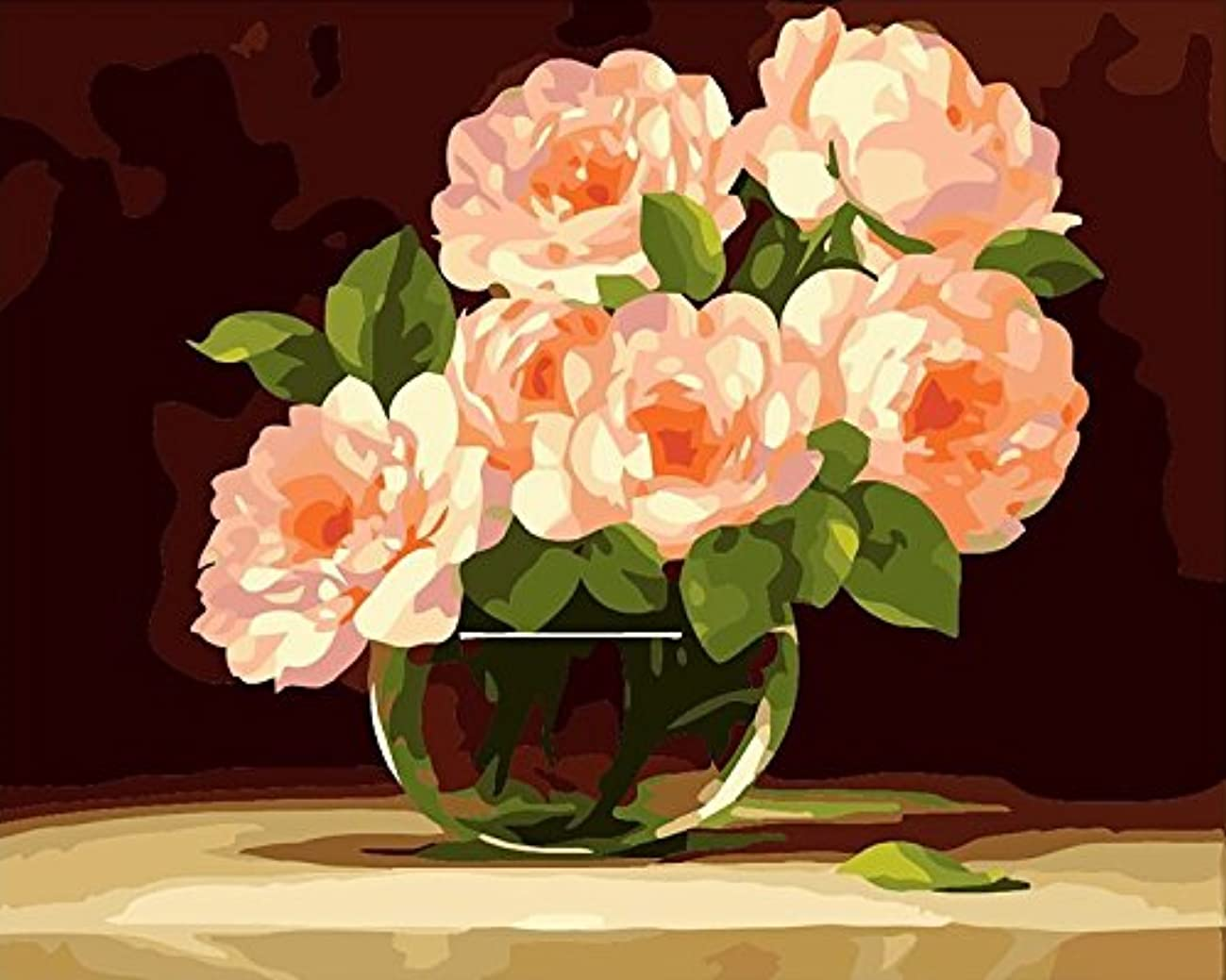 [Wooden Framed] Diy Oil Painting Paint by Number Kit for Adults Kids - Peony flowers in full bloom 16x20 inch
