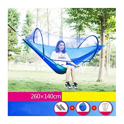 Portable Outdoor Camping Hammock with Mosquito Net High Strength Parachute Fabric Hanging Bed Hunting Sleeping Swing (Color : Blue)