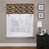 Adorise - Cortinas para ventana, diseño de mosaico, estilo trapezoidal, cortas, rectas, para sótano/cafetería, 54 x 12 pulgadas