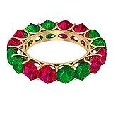 Anillo de eternidad con relleno de cristal de rubí de 5,2 quilates, anillo de esmeralda creado en laboratorio de 3,8 quilates, 14K Oro amarillo, Size:EU 53