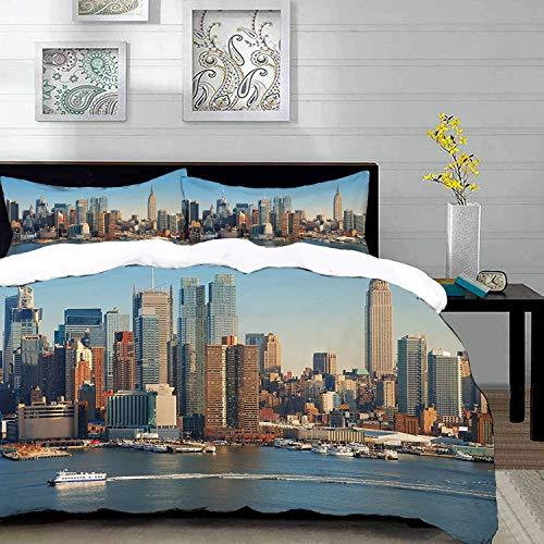 Bedding Juego de Funda de Edredón,Microfibra -Urbano, horizonte de la ciudad de Nueva York sobre el río Hudson Emp - Funda de Nórdico y Fundas de Almohada - (Cama 220 x 240cm + Almohada 63X63c