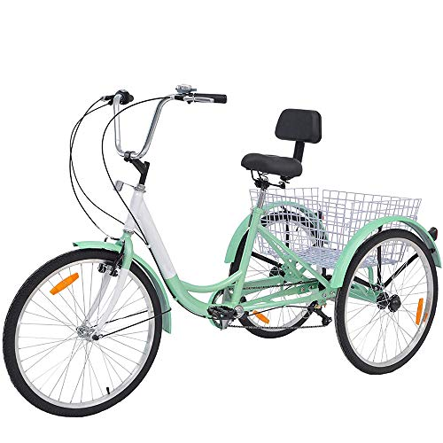 Adult Tricycles, 7 Speed Adult Trikes 20/24/26 inch 3 Wheel Bikes with Large Basket for Recreation, Shopping, Picnics Exercise Men's Women's Cruiser Bike