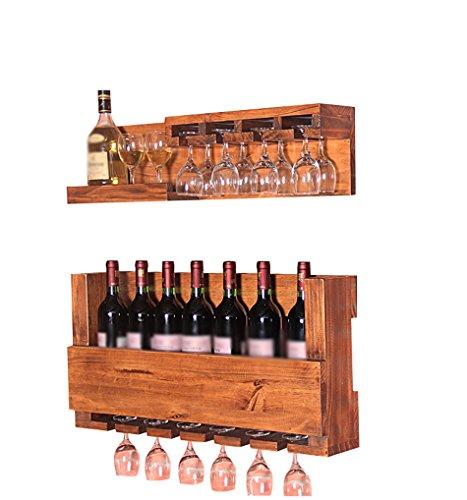 ZWL Rétro solide bois vin Rack Set, Creative Bar suspendus porte-gobelet étagère Restaurant Goblet Titulaire porte-gobelet vin Set 70 cm de long Étagère à vin.z (taille : A)