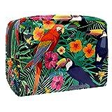 Macaw loros tucanes bolsa de maquillaje organizador de cosméticos multifuncition viaje impermeable neceser con cremallera para mujer