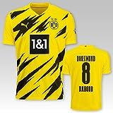 PUMA BVB Heimtrikot Erwachsen Saison 2020/21, Größe:M, Spielername:8 Dahoud