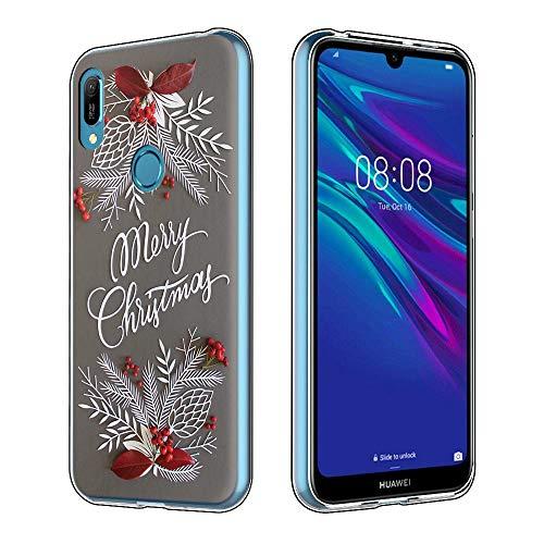 Yoedge Funda Huawei Y6 2019, Cárcasa Silicona Transparente Navidad con Dibujos Antigolpes Nieve Ciervo de Diseño...