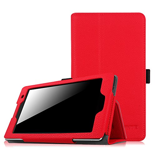 ASUS ZenPad Z170C 7.0 Folio Hülle Case - Fintie Slim Fit Kunstleder Schutzhülle Cover Tasche Etui aus mit Standfunktion Stylus Loop für ASUS ZenPad C 7.0 Z170C / Z170CG 7 Zoll Tablet-PC, Rot