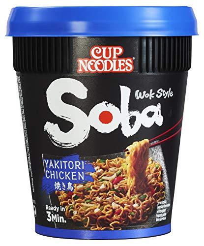 Nissin Cup Noodles Soba Cup – Yakitori Chicken, 8er Pack, Wok Style Instant-Nudeln japanischer Art, mit Würzsauce, Hähnchen & Gemüse, schnell im Becher zubereitet, asiatisches Essen (8 x 89 g)