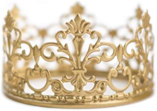 BalsaCircle 4-Inch Wide Gold Metal Crown Cake Topper - Princess Knight Prince Kids Birthday Party Centerpiece Decorations