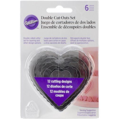 Wilton 417-2588 6-Piece Nesting Fondant Double Sided Cut Out Cutters, Hearts,Silver