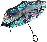 Farfalla e foglia di palma tropicale colorato antivento a forma di C manico antivento a prova di UV Ombrello reversibile per auto da viaggio all'aperto