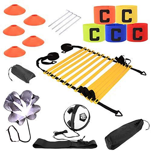 Kit entrenamiento velocidad y agilidad de fútbol,escalera de agilidad y cono,paracaídas para correr con resistencia,cono deportivo,clavos metálicos y bolsa de transporte,cinturón de entrenamiento