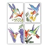 AIWU Aquarell Blume & Vogel Wandkunstdruck, Kolibri- und
