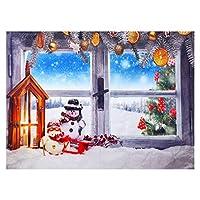 PIXNOR クリスマスの写真撮影の背景、壁のスタジオのためのクリスマスウィンドウ雪だるま風景タペストリー布の背景
