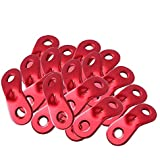 20-PCS MAGARROW Guyline Cord Adjusters Tent Aluminium Alloy Rope Adjuster Hiking 3 Holes Type Adjusters Snail-Shape, Red