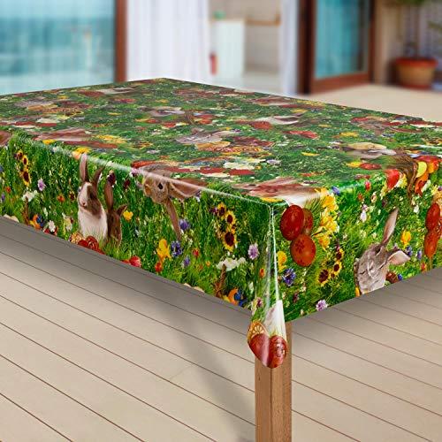 laro Wachstuch-Tischdecke Abwaschbar Garten-Tischdecke Wachstischdecke PVC Plastik-Tischdecken Eckig Meterware Wasserabweisend Abwischbar |53|, Muster:Ostern Blumenwiese Hase, Größe:80x80 cm
