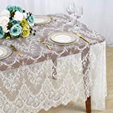 ShinyBeauty Lace Party Tablecloth Rustic Floral Fabric Rectangle Lace Table Cloth Baby Tablecloth Tea Party Tablecloth Fabric Table Cover (1, White-005)