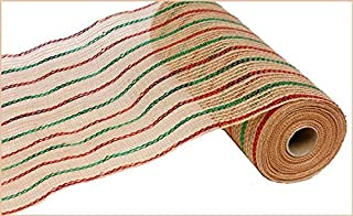 Craig Bachman Metallic Jute Stripe Deco Poly Mesh Ribbon - 10.5