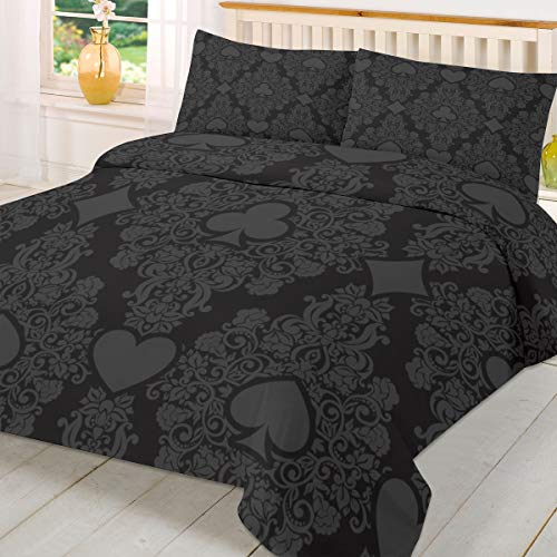 Savannan 3 Piece Bedding Duvet Cover Set with Pillowcases Gray Poker Pattern Hearts Diamonds on Light Black Background Super Soft Warm and Durable Bedding Comforter Sets Twin Size