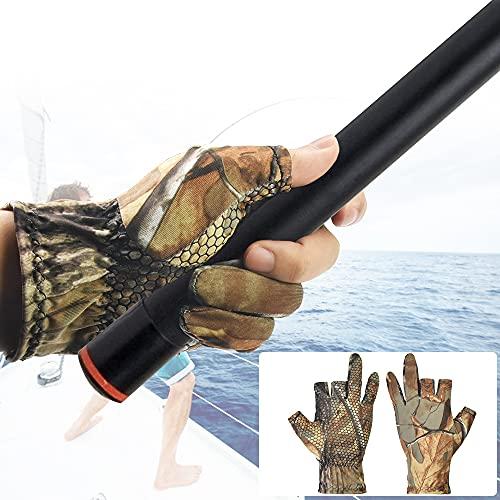 DECARETA Guanti da Pesca Antiscivolo Guanti Pesca Spinning Guanti Pesca Estivi Guanti da Caccia con Tre Dita Libere Guanti per Pescare Guanti Traspirante per la Pesca all'aperto (Colore Casuale)