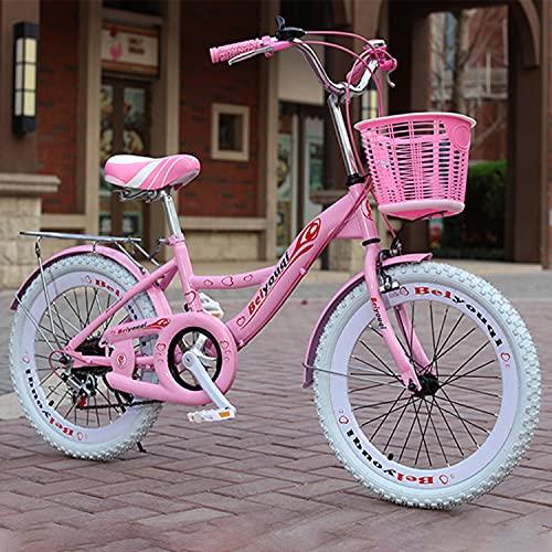 Fahrrad 20 Zollmädchen, Kinderfahrräder è Realizzato in Acciaio Ad Alto Tenore Di Carbonio, Sistema Frenante Anteriore E Posteriore, Pneumatici Antiscivolo, Con Cestino, Bambini 8-12 Anni