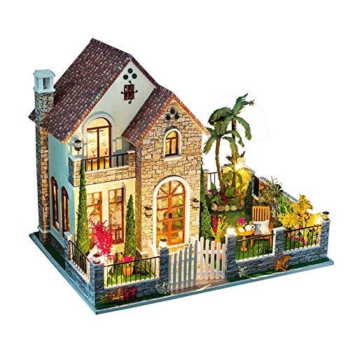 Liuxiaomiao Kit de Casas de Muñecas Casa de muñecas de Madera de Bricolaje artesanía en Miniatura Kit romántico Gran Villa Modelo con Muebles Juguetes de Madera Idea de Cumpleaños