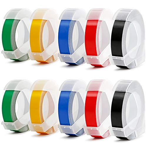 Aken Compatible Label Tape Replacement for Dymo Embossing Label Maker, 3D Plastic Labels Colored Embossing Tape for Organizer Xpress Pro, Label Buddy,Old Rotex Embosser Office Mate II, 3/8 inch 10pk