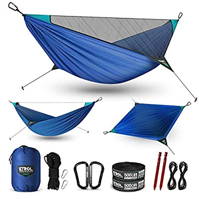 ETROL Camping Hammock - Upgraded 2 in 1 Hammock with Mosquito Net - 2 Tree Straps, Hold Up to 485lbs - Lightweight Portable Hammock with Ridgeline for Camping, Outside, Travel, Hiking, Backpacking