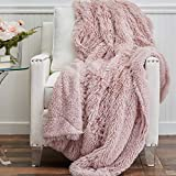 The Connecticut Home Company Soft FluffyShagBed Throw Blanket, Luxury Sherpa Reversible Blankets, Comfy Plush Washable Accent Throws for Sofa Beds, Couch, Fuzzy Home Bedroom Decor,65x50, Dusty Rose