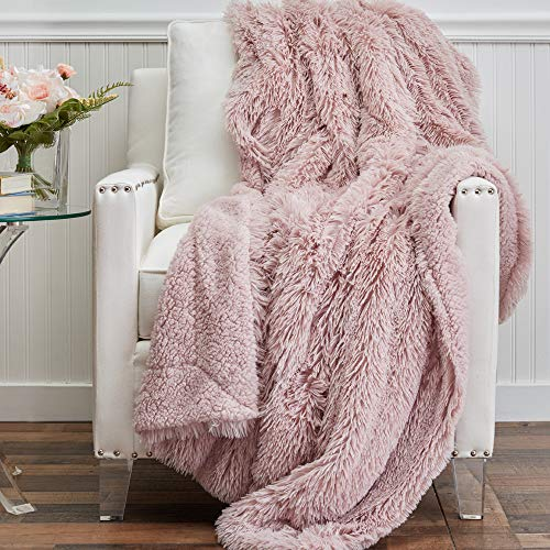 The Connecticut Home Company Soft FluffyShagBed Throw Blanket, Luxury Sherpa Reversible...