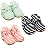 3 Pairs Baby Booties Unisex Newborn Cotton Winter Booties Stay On Sock Shoes Warm Infant Non-Slip Slipper Booties Cozy Booty for 0-6 Months Girls Boys