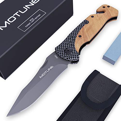 MOTUNE® Zweihand Klappmesser 3-in-1 KP20 - Scharfes Taschenmesser mit Holzgriff - Zweihandmesser mit Titaniumklinge aus Edelstahl - Outdoor Messer mit Schleifstein & Gürteltasche