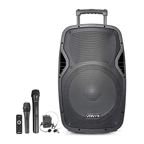 VONYX AP1500PA 15 Inch Active Portable PA Speaker 800W Battery Powered...