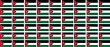 Mini Aufkleber Set - Pack glatt - 20x12mm - Sticker - Jordanien - Flagge - Banner - Standarte fürs Auto, Büro, zu Hause & die Schule - 54 Stück