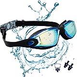 JINPXI Gafas de Natación Antiniebla, Gafas para Nadar Protección UV Lentes HD Silicona Ajustables para Adultos y Niños 13+ Color Negro