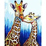 Paint by Numbers for Adults Kids Kit - DIY Oil Painting Kit on Acrylic Canvas,6 Paintbrushes,20x16 Inch Without Frame (Giraffe)