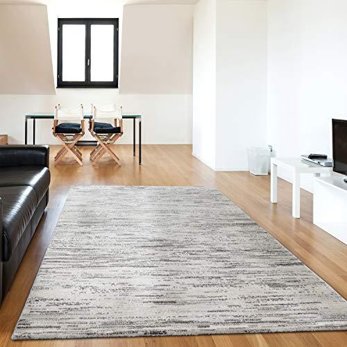 mynes Home | Kurzflor Teppich in Grau Dunkel Weiss Meliert Gepunktete Designer Linien Unempfindlich und strapazierfähig (200 x 290 cm)