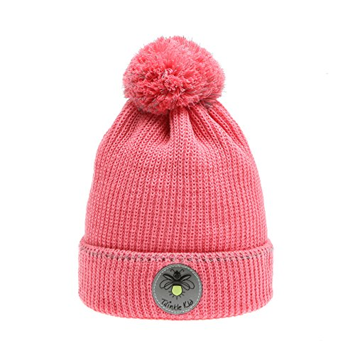 Twinkle Kid - Kinder Reflektor Mütze - Leuchtbommel Back to School Sunkist Coral Pink 54/56