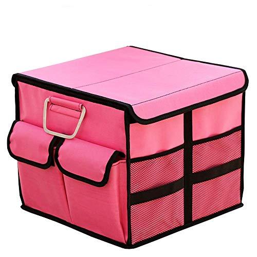 Chain Winter Kofferraum Organizer Kofferraum Aufbewahrungsbox Organizer Fach Faltbare Tragbare Aufbewahrungsbox Frachtbox Für SUV Auto LKW rutschfeste Unterseite (Farbe: Rosa, Größe: 35X35X30 cm)