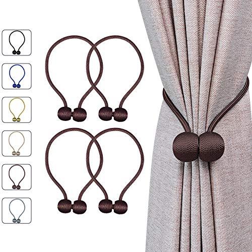"""DVEDA 4 Pack Magnetic Curtain Tiebacks, 16"""" Modern Decorative Window Curtain Holdbacks Rope, Weave Rope Curtain Holdbacks for Home Office Window Drapries (Dark Brown)"""